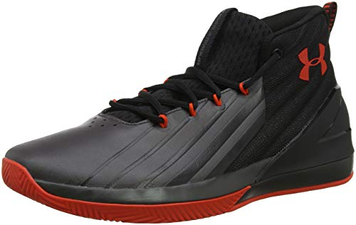 Under Armour UA Lockdown 3, Zapatos de Baloncesto Hombre, Negro (Black/Charcoal/Radio Red), 43 EU