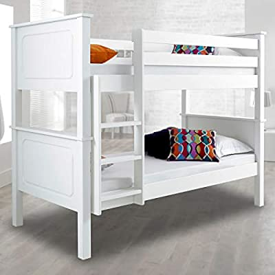 Happy Beds Vancouver Wooden Bunk Bed 3ft Single Solid Pine 2x Mattress Furniture