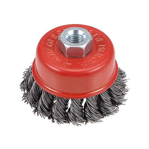 Acero prensado anudado torcido con cepillo de copa de alambre de 2-1/2 pulgadas con orificio roscado M10