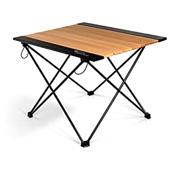 P&J Trading Basecamp Beech Wood and Aluminum - Portable Outdoor Table for Camping Hiking RV Kids Sports Beach River Lakeside Tailgating Folding Table