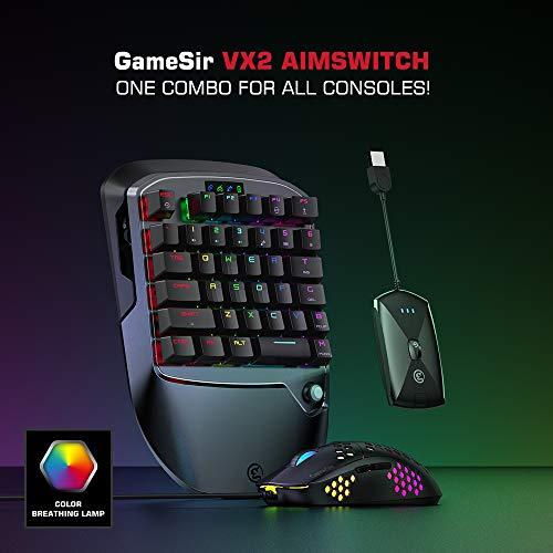 GameSir VX2 AimSwitch Gaming Tastiera e kit mouse per PS4 Xbox One Nintendo Switch Console di gioco per PC Windows, adattatore controller wireless con tastiera TTC Red Switch per PUBG / Fortnite / COD