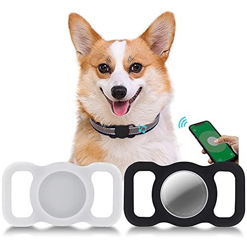 Funda Protectora para Airtag,Kucheed 2 Piezas Accesorios para Collar de Perro Gato con Seguimiento GPS,Soporte de Bucle para Mascotas,Funda de Localización Silicona Antirrayas Compatible con A