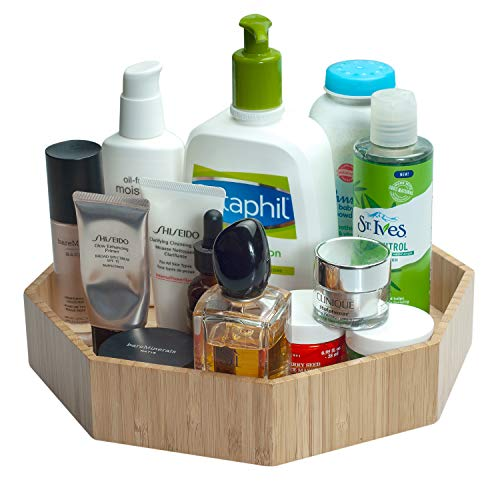 """MobileVision Bamboo 360 Rotating Bathroom Toiletry Cosmetic Spinning Tray for Countertops and Vanity with Lazy Susan Turntable 10"""" Diameter with 2"""" Ledge"""