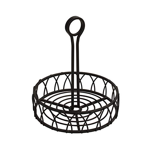 Spectrum Diversified Twist Stand Steel Condiment Caddy for Restaurants & Homes, Coffee Station Office Décor, Rust-Resistant Seasoning & Sauce Holder, Black