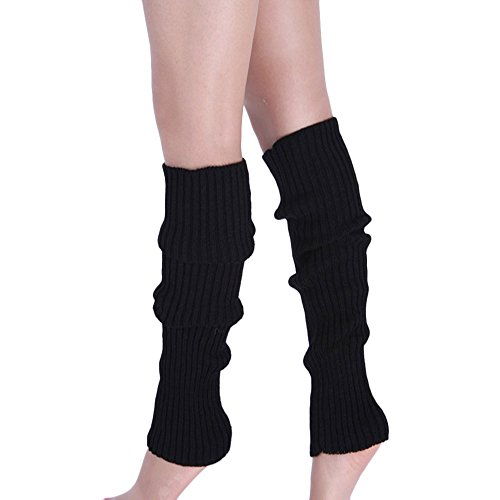 Leg Warmers - Ankle Warmers For Women, Boots Cuff Warmer Ribbed Stretch Knee Leg Socks, Ladies Girls 80s Party Club Neon Fancy Dress Leg Accessories (Black)(Size: One Size)