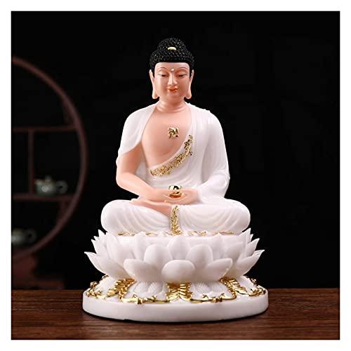 JIEZ Adornos de Feng Shui Decoración de Feng Shui Protege la casa Decoración de la Suerte Estatua de Buda Realista de 11.8 Pulgadas sentada en una Plataforma de Loto Adecuada para el ho