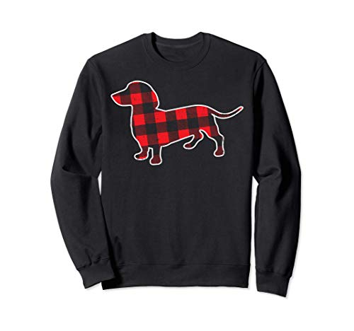 Red Bufallo Plaid Dachshund Dog Xmas Holiday Wiener Gift Sweatshirt