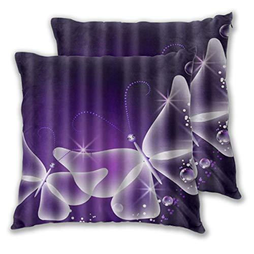 DECISAIYA Fundas de Cojines,Purple Butterfly Angel Star Shining,Poliéste Funda de Almohada Cuadrado para Sofá Cama Decoración para Hogar,Set de 2,45x45cm