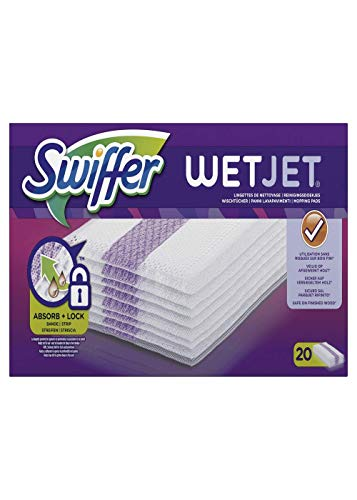 Swiffer WetJet Balai Spray Recharges Lingettes Pour Tous Types De Sols Lot de 2 (2 X 20 = 40 Pièces)