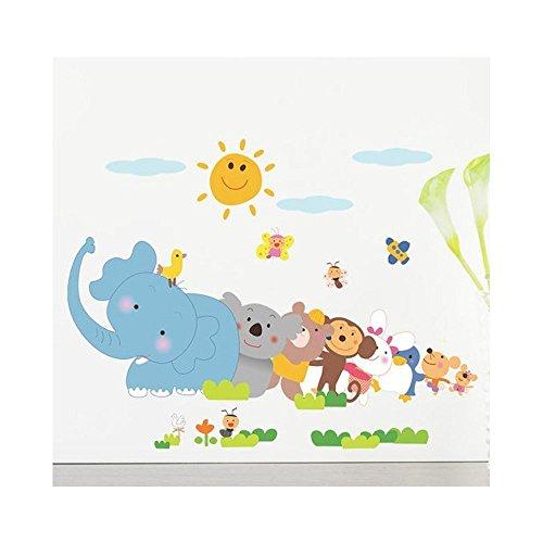 Diseño de DIY pegatinas de pared autoadhesivas Servicio/pared/pegatinas/pared/pegatinas de pared de vinilo para niños/niños dormitorio/decorativo con dibujos de animales, mono, conejo, aves y ríe sol diseño en varios coloures VAGA