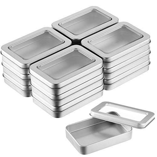 Metal Tin Box Clear Top Tins Box Empty Storage Tins Case Rectangle Containers Can with Large Clear Window for Candles, Candies, Gifts, Balms and Treasures, Silver (12)