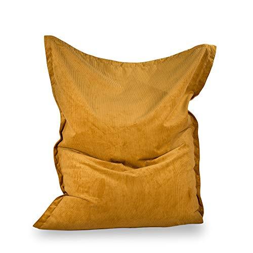 MiPuf - Big Puff Gigante Pana - 180x140 cm - Tejido Alta Resistencia - Doble Cremallera - Doble Costura - Relleno Incluido - Mostaza - 4 años de Garantía
