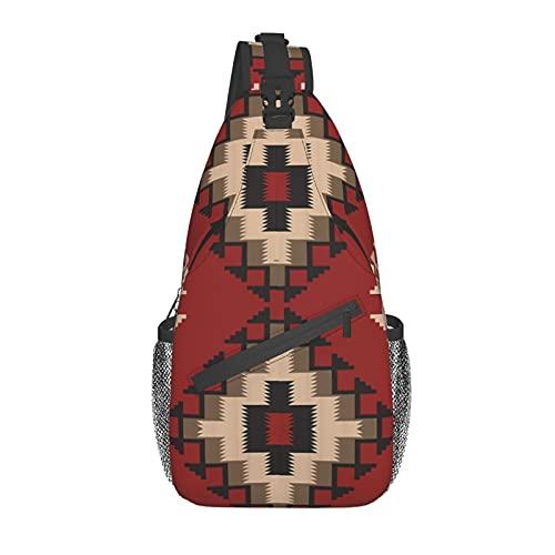 Unisex Sling Bag Daypack Brusttasche Schulterrucksack Crossbody Paket Nahen Osten Folklore Pixel Art Dreiecke Afghanischer Stil Geometrisch für Reisen Wandern Gym Outdoor Alltag