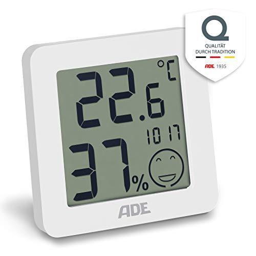 ADE Digitales Thermo-Hygrometer WS 1706. Thermometer mit präziser Anzeige der Temperatur, Hygrometer für Luftfeuchtigkeit mit Komfortzonen-Indikator und Uhr. LCD-Display. Inklusive Batterie. Weiß