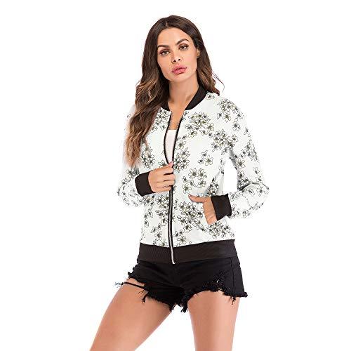 Sisphy Chaqueta bomber para mujer, vintage, floral, chaqueta con cremallera, moderna, con flores, chaqueta de entretiempo Blanco XL