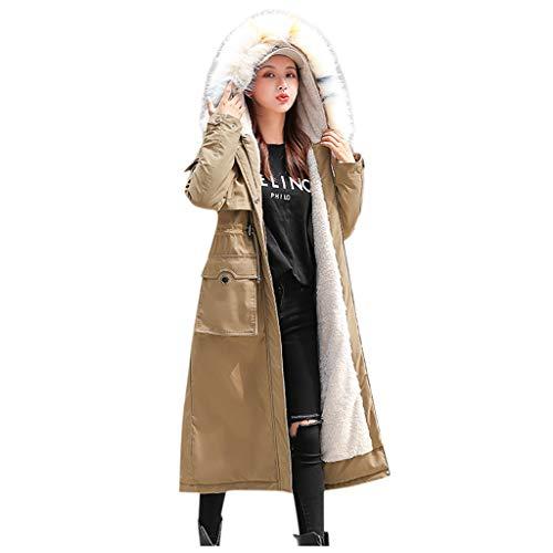 Plot Damen Winterjacke Lang Casual Warm Windbreaker Gefüttert Parka Jacken mit Kapuze Winter Warm Steppjacke Pelzkapuze Jacke Kapuzenjacke Wintermantel Outwear Coat