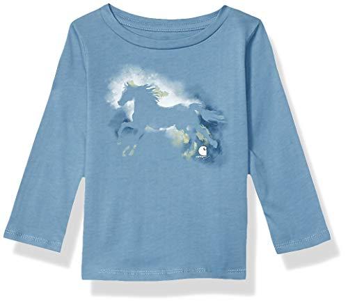 Carhartt Baby Girls Long Sleeve Graphic Tee T-Shirt, Watercolor Horse (Blue Heaven), 18 Months