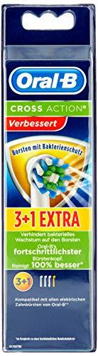 Oral-B 4210201207238 Oral-B CrossAction - Testine di ricambio con protezione batterica, previene la crescita batterica sulle setole, 4 pezzi