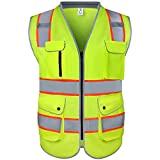 amoolo Safety Vest with 9 Pockets, Zipper and Padded Neck, High Visibility Reflective Vest, ANSI/ISEA Type R Class 2 , Yellow, L