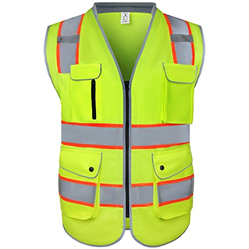 amoolo Safety Vest with 9 Pockets, Zipper and Padded Neck, High Visibility Reflective Vest, ANSI/ISEA Type R Class 2 , Yellow, XL