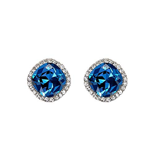 LDH 925 Silver Needle Earrings for Girls Cubic Zirconia Stud Earrings Temperament Korean Simple Fashion Personality Wild Blue Earring (Color : Blue)