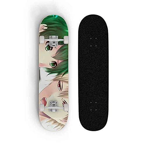 JXEXF Monopatín 31'x 8' Completa Longboards My Hero Academia Midoriya Izuku Patrón Maple Deck Green Cruiser Dibujos Animados Skateboard, Pedal de Deportes Juveniles Scooter de 4 Ruedas 31 Pulgadas