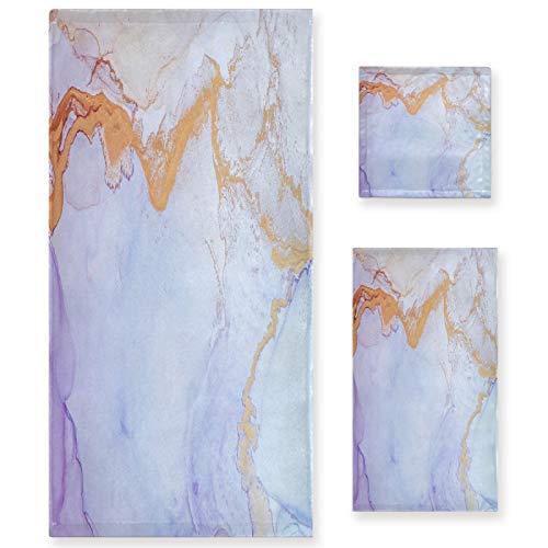 Naanle Juego de 3 toallas de baño abstractas de mármol para baño de algodón altamente absorbente, toalla de baño grande+toalla de mano+toalla, paquete de 3 toallas de suavidad para decoración