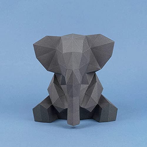 Elefante Gris Papercraft kit,Yona DIY Kit de origami 3D para montar a mano, 3D Puzzle para la decoración de hogar,Trofeo de papel, Regalo de papel,Bricolaje en papel, Rompecabezas 3D, Elephant