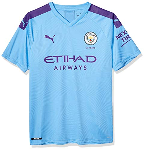 PUMA Youth Manchester City Soccer Jersey 2019-2020 Medium, Hombre Team Light Blue/Tillandsia Purple