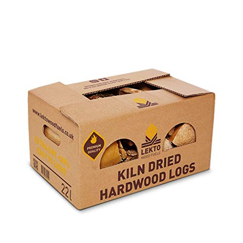 Lekto Woodfuels Hardwood Firewood Kiln Dried Birch Logs | Natural Chunky Wood with Sweet Aroma | 25cm Long | Plastic Free Packaging| 8-10kg Per Box (24 Boxes)