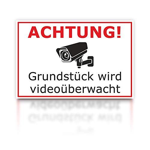 Videoüberwachung Warnschild - Achtung! Grundstück Wird videoüberwacht - 300 x 200 x 3 mm - Hartschaumplatte Forex Kunststoff - Hinweisschild Kameraüberwachung