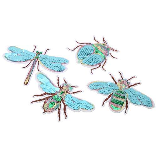 Cikonielf 4 pièces vêtements Patchs Broderie Tissu Autocollants Libellule scarabée Abeille Cigale Bricolage Patch réparation Accessoires pour Enfants