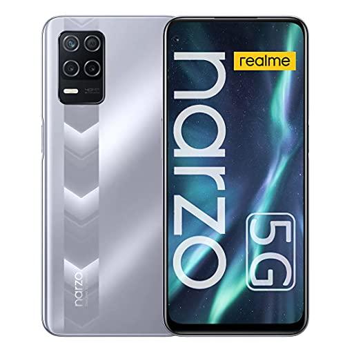 realme Narzo 30 5G Smartphone, Móvil 4GB + 128GB, Dimensity 700 5G Teléfono Móvil 6.5 '', 48MP Triple Camera, 5000mAh Battery, 18W Fast Charge, Android 11, Dual Sim + Micro SD, Versión de EU (Plata)