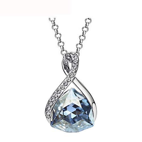 GYXYZB Oostenrijkse kristallen strass liefde waterval kettingen & hanger voor vrouwen mode sieraden geboortesteen