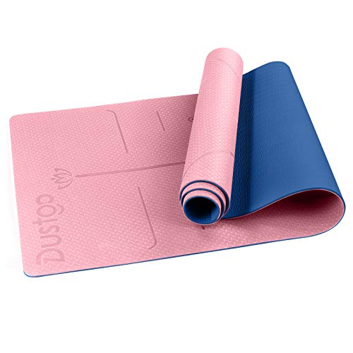 Dustgo Tapis de Yoga, en TPE Matériaux, Épaisseur de 6MM, avec Lignes d'alignement du Corps, 183x61x0.6 cm, Tapis Yoga Antidérapant et Durable, avec Un Sangle et Un Sac à Dos