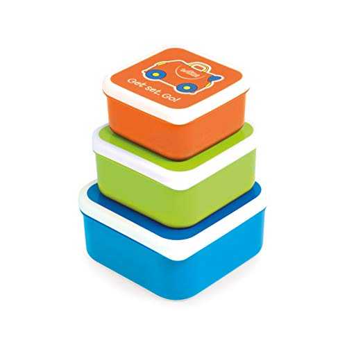 Trunki Set infantil de 3 tuppers para snacks – Terrance azul, verde y naranja