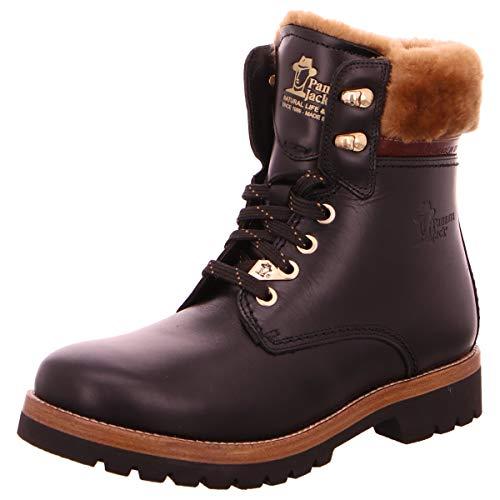 Panama Jack Damen Stiefel Panama 03 Igloo Brooklyn, Frauen Winterstiefel,Lammfell, Women Woman Freizeit leger Winter-Boots warm,Schwarz,39 EU / 6 UK
