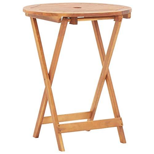 VidaXL Acaciahout massief tuintafel inklapbaar bistrotafel klaptafel houten tafel tuintafel terrastafel tuinmeubelen 60x75cm