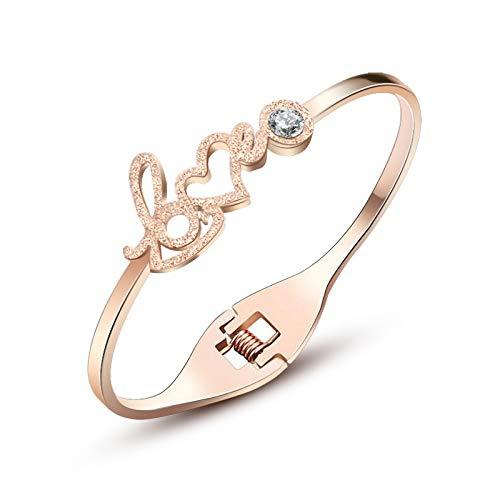 wangk Pulseras románticas del Brazalete del Amor con la Moda cúbica Rosa Oro Acero Inoxidable brazaletes para Las Mujeres Encanto joyería Regalos