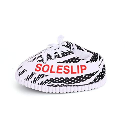 SoleSlip ZBRA Sneaker Hausschuhe | Herren und Damen | Bequem und gemütlich | Perfekt zum Relaxen | Reines Polyester | Einheitsgröße | Trendiges Design | Weiß und Schwarz | Yeezy Slipper 2020