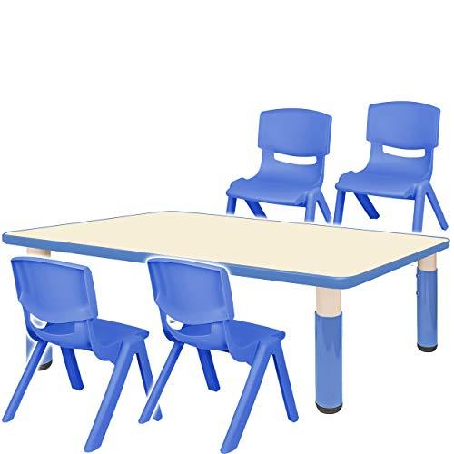 alles-meine.de GmbH Sitzgruppe für Kinder - Tisch + 4 Kinderstühle - Größen & Farbwahl - blau - höhenverstellbar - 1 bis 8 Jahre - Plastik - für INNEN & AUßEN - Kindertisch / Kin..