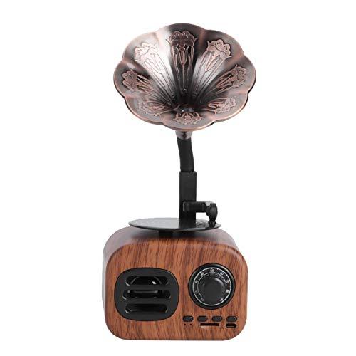 Altavoz Bluetooth Retro, Reproductor De MúSica Con Tarjeta Enchufable De Estilo CláSico Pasado De Moda, Altavoz De Cuerno De Cobre, Graves Fuertes Con Tocadiscos De Vinilo, Para Tableta, TeléFono Y PC