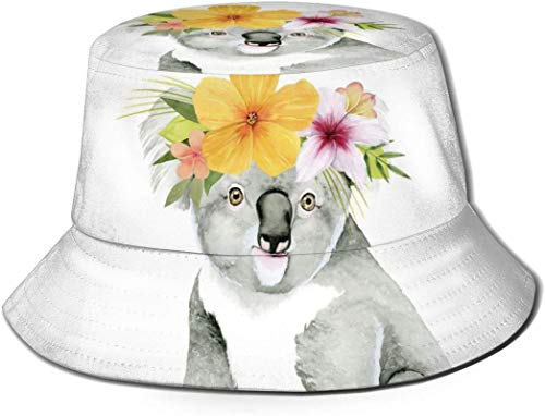 DUTRIX Guirnalda de Flores Amarillas Koala Animal Unisex Print Bucket Hat Sombreros de Pescador Sombrero de...