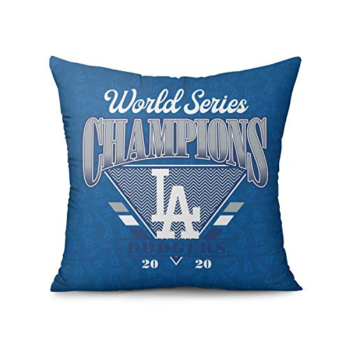 ZHHOIN JIAKE 18'x18' Inch Pillow Cover Los Angeles 2020 Baseball Champs 100% Cotton Couch Sofa Style Euro Pillow Modern Quality Cushion Case