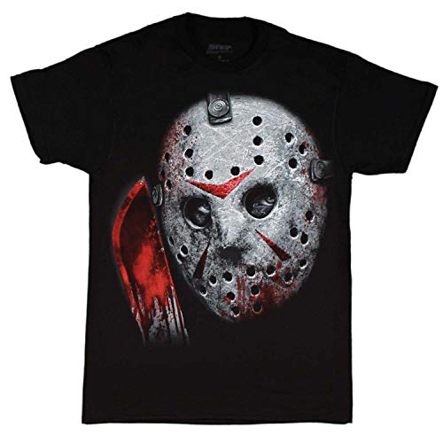 sea Friday The 13th Jason Voorhees Airbrush Mask Black Shirt Camisetas y Tops(Large)