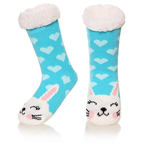 Kids Boy Girl Soft Thick Warm Slipper Socks Winter Fleece Fuzzy Non-Skid Children Home Socks (Rabbit, 8-12 Years)