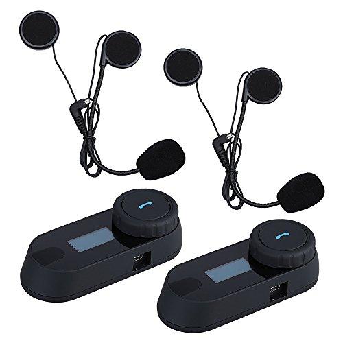 BOBLOV TCOM-SC Motorrad Intercom Bluetooth Motorrad Sprechanlage 800M Motorrad Helm Interphone wasserdichte Geräuschreduzierung LED Bildschirm Full Duplex-Freisprecheinrichtung(2 Pack)