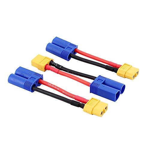 OliRC 3 St. Männlichen EC5 zu Weiblich XT60 Verbinder Adapter für LiPO Batterie mit 14awg 5cm Draht(C74-3)