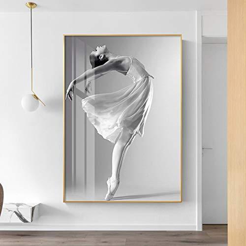 supmsds Kein Rahmen Art Nordic Style Ballett Mädchen Bilder Poster Leinwand Malerei Schwarz-Weiß-Wandkunst für Wohnzimmer Schlafzimmer 19.7x29.5inch