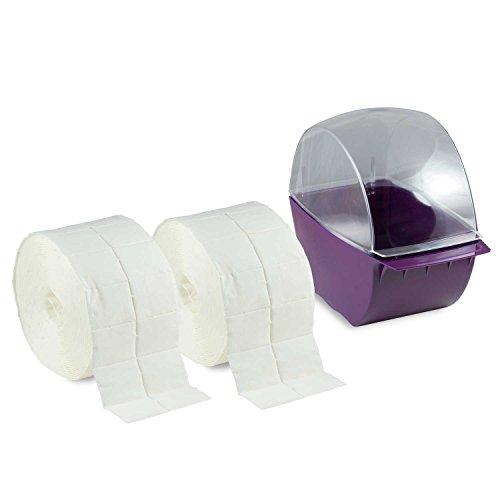 Nailsfactory Distributeur de coton cellulose + 2 rouleaux de 500 compresses Violet